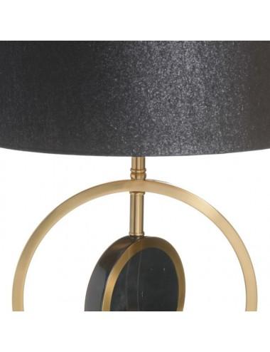 Lámpara de Sobremesa en Oro y Negro con Pantalla Negra, detalle  Base Superior