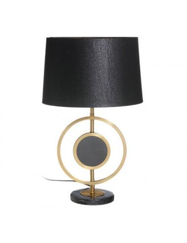 Lámpara de Sobremesa en Oro y Negro con Pantalla Negra