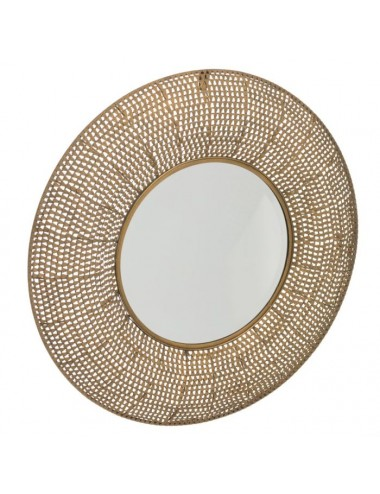 Espejo Redondo Oro Viejo Metal