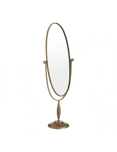 Espejo Vestidor Ovalado Oro Viejo Metal y Cristal