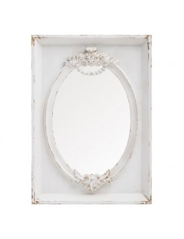Espejo Blanco Rozado en Madera de Abeto