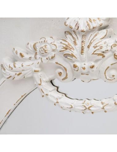 Espejo Blanco Rozado en Madera de Abeto, detalle Superior