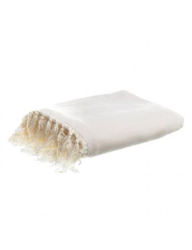 Manta de Pelo color Blanco Crudo con Flecos