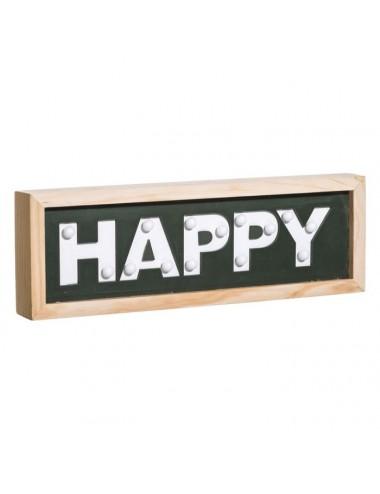 Mural de Pared HAPPY con Luz Led