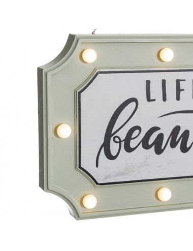 Mural de Pared LIFE IS BEAUTIFUL con Luces Led, vista Encendido