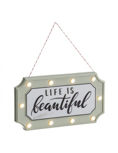Mural de Pared LIFE IS BEAUTIFUL con Luces Led