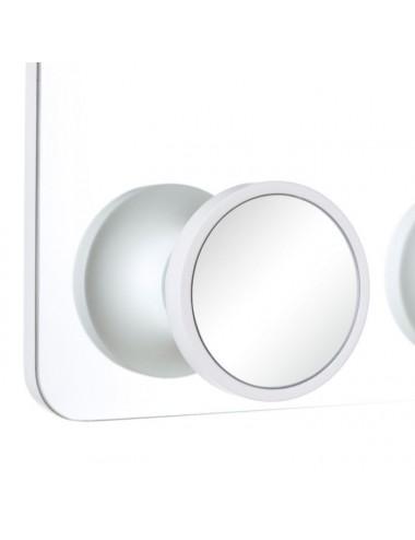 Espejo Percha de Cristal Blanco, detalle Pomo