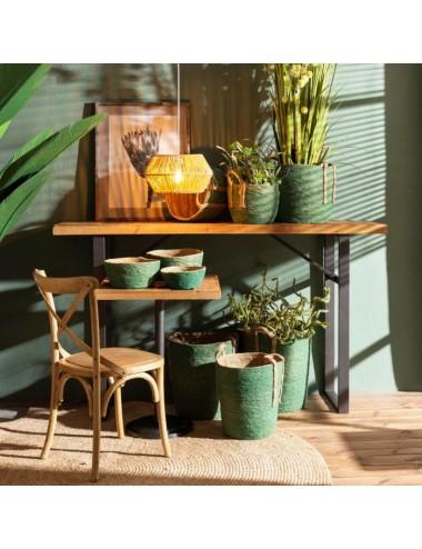 Set de Tres Cestas de Fibra Natural color Verde, foto Ambiente