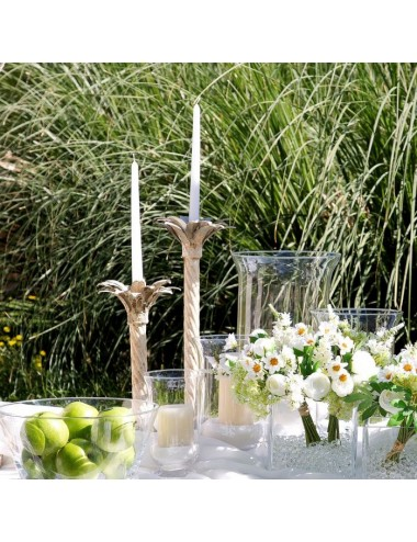 Portavelas de Flor en Metal Blanco y Oro envejecido, foto Ambiente