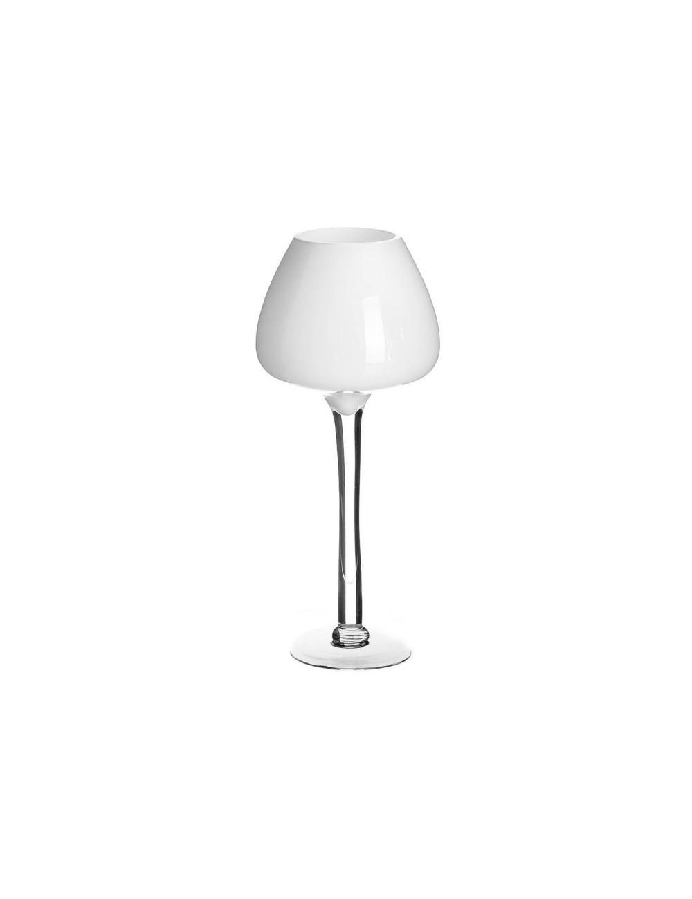 Portavelas Copa de Cristal Blanco