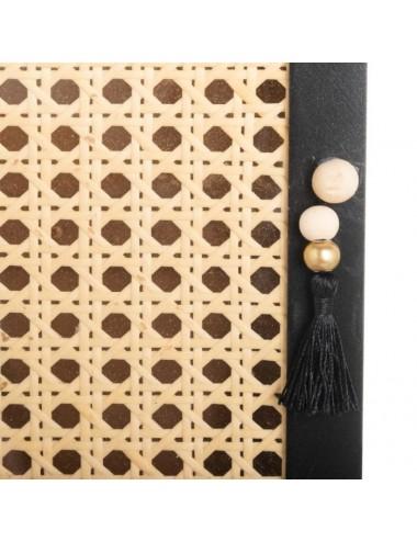 Caja Llavero con Cajón en DM y Ratán color Natural y Negro, detalle Puerta