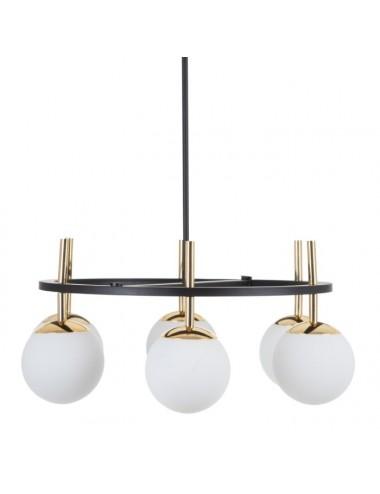 Lámpara de Techo en Oro y Negro de Metal y Cristal de Seis Brazos