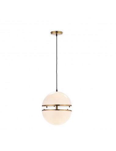 Lámpara de Techo de Esfera Dividida en Blanco y Metal Dorado