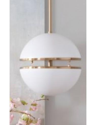 Lámpara de Techo de Esfera Dividida en Blanco y Metal Dorado, foto Ambiente