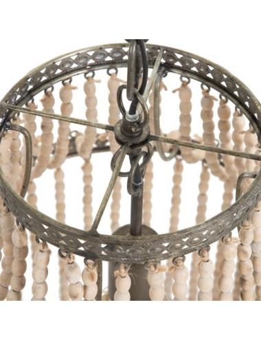 Lámpara de Techo de Cuentas de Madera de Abeto color Natural, detalle Superior