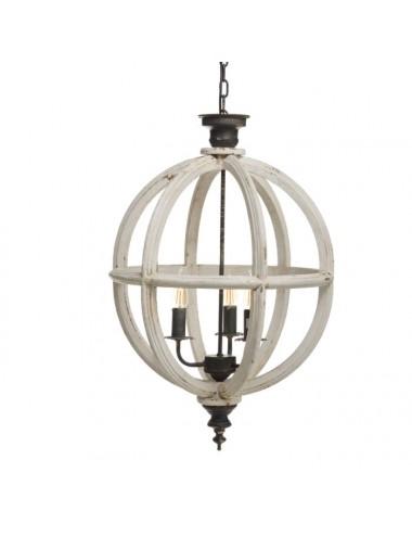 Lámpara de Techo en Madera de Abeto color Blanco Rozado