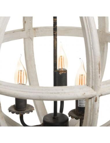 Lámpara de Techo en Madera de Abeto color Blanco Rozado, detalle Interior