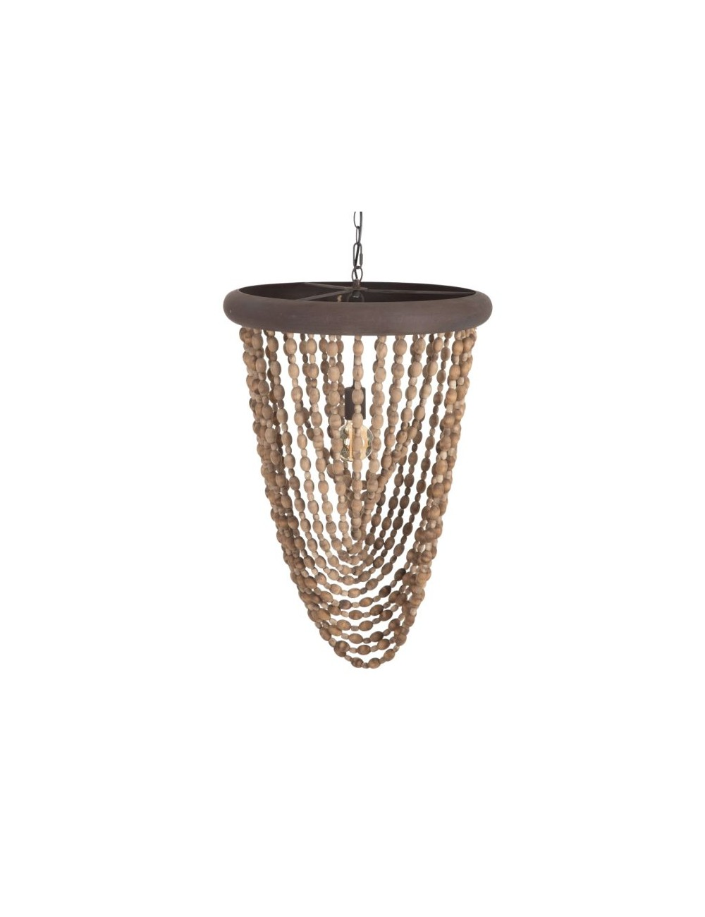Lámpara de Techo de Cuentas de madera Natural