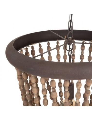 Lámpara de Techo de Cuentas de madera Natural, detalle Superior