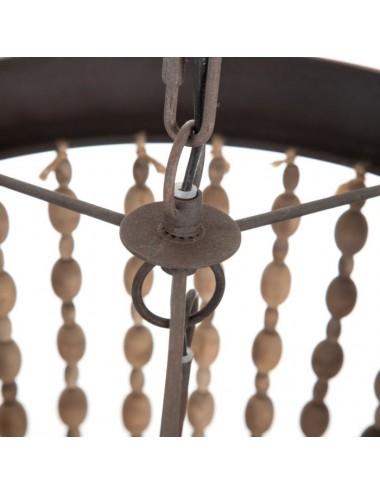 Lámpara de Techo de Cuentas de madera Natural, detalle Interior