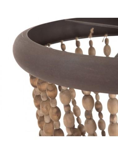 Lámpara de Techo de Cuentas de madera Natural, detalle Aro Superior