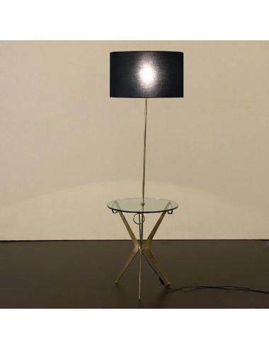 Lámpara de Pie con Pantalla Negra y Mesa de Metal y Cristal, foto Ambiente