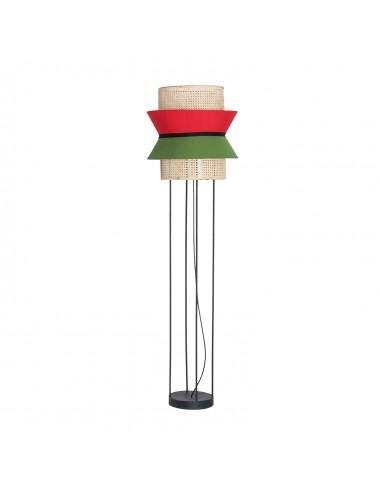 Lámpara de Pie en Ratan y Algodón