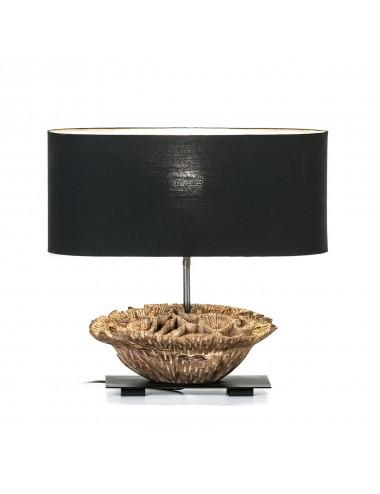 Lámpara de Sobremesa en Madera y Metal Pantalla Negra