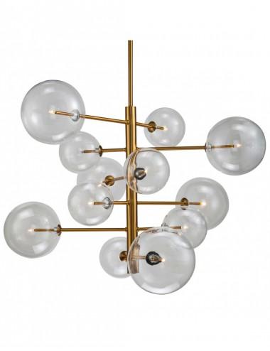Lámpara de Techo de Doce Brazos en Metal Dorado con Bolas de Cristal