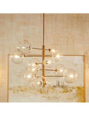 Lámpara de Techo de Doce Brazos en Metal Dorado con Bolas de Cristal, foto Ambiente 1