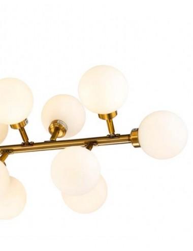 Lámpara de Techo Dorado Envejecido y Cristal Blanco, detalle Lateral