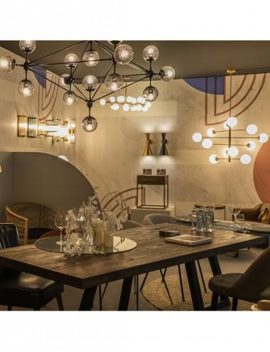 Lámpara de Techo Dorado Envejecido y Cristal Blanco, foto Ambiente