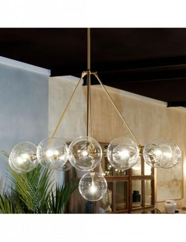 Lámpara de Techo de Metal Dorado y Cristal Transparente, foto Ambiente 1