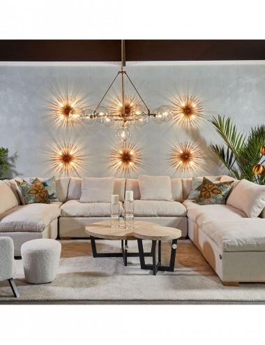 Lámpara de Techo de Metal Dorado y Cristal Transparente, foto Ambiente 2