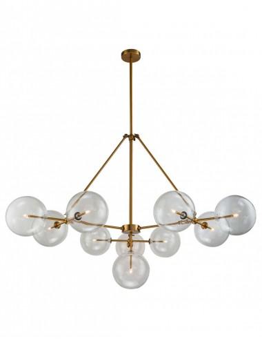 Lámpara de Techo de Metal Dorado y Cristal Transparente
