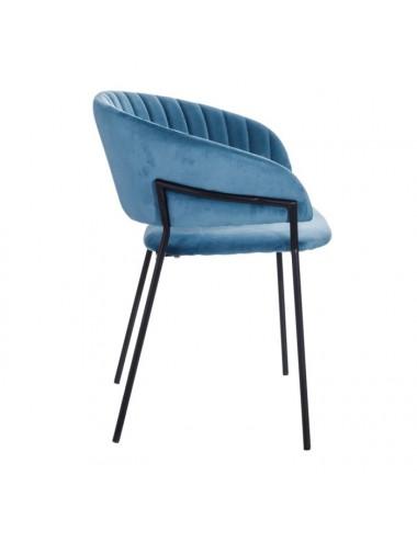 Set de Dos Sillas de Terciopelo y Metal color Azul