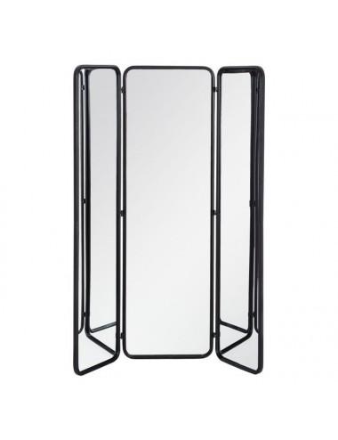 Biombo de Espejo color Negro de Metal y Cristal
