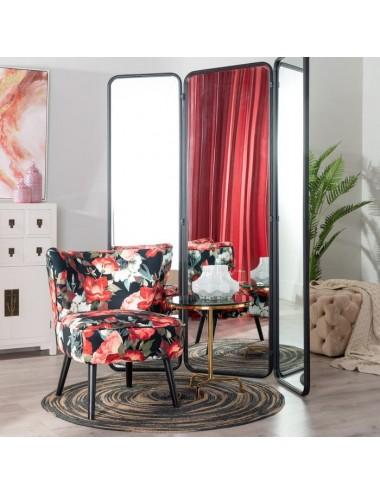 Biombo de Espejo color Negro de Metal y Cristal, foto Ambiente