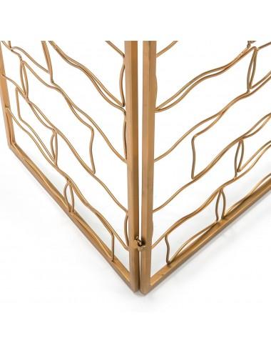Biombo de Metal Dorado formas Cuadradas, detalle Inferior