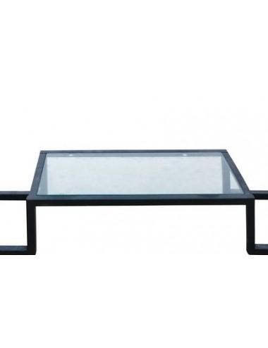 Consola de Metal Negro y Cristal, detalle Inferior