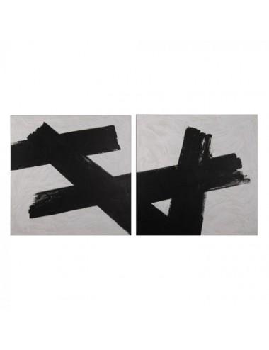 Set de dos Pinturas Abstractos en Blanco y Negro