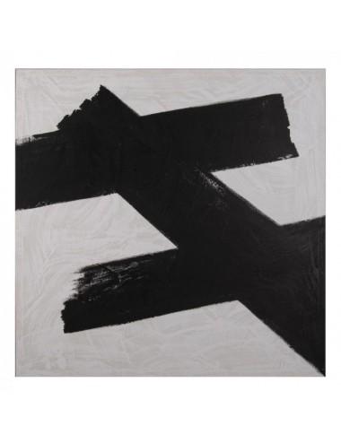Set de dos Pinturas Abstractos en Blanco y Negro, detalle 1