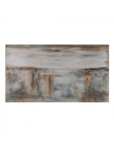 Pintura Abstracto en Beige y Gris sobre Lienzo