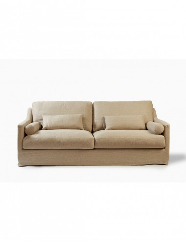 Sofá de Lino Crudo de Tres Plazas