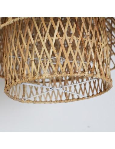 Lámpara de Techo en Ratán Natural, detalle Inferior