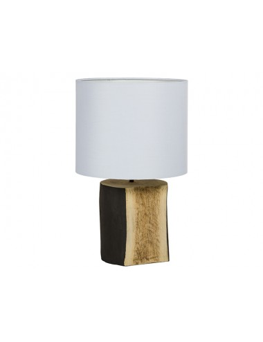 Lámpara de Sobremesa con Base de Tronco y Pantalla Blanca