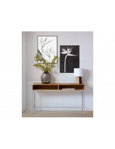 Lámpara de Sobremesa con Base de Tronco y Pantalla Blanca, foto Ambiente