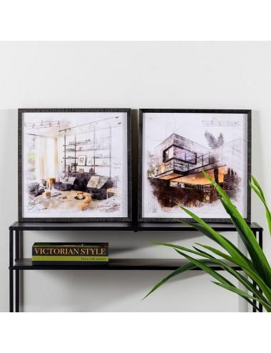 Set de Dos Cuadros Impresión Negro y Gris, foto Ambiente
