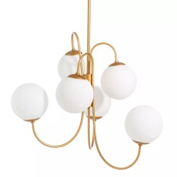 Lámpara de techo Pantalla redonda Blanca seis Luces